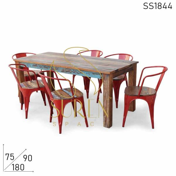 SS1844 Suren Space Multicolored Shabby Chic Afwerking Teruggewonnen Dining Set