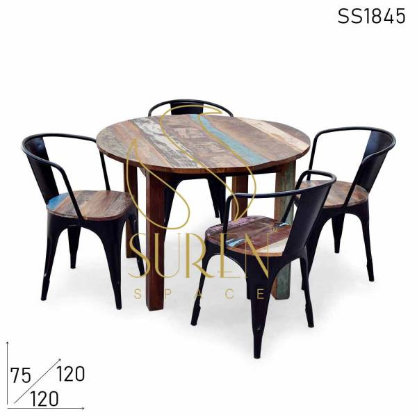 SS1845 Suren Space Solid Recycled Round Folding Restaurant Café Table Set