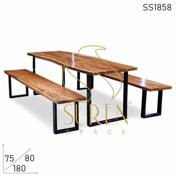 SS1858 Suren Space Live Edge Acacia metal stand table bench set para el evento