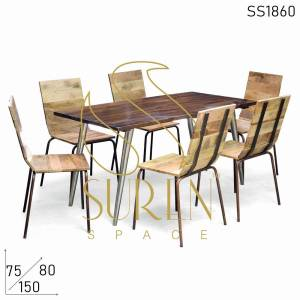 SS1860 Suren Space Compact Design Metal Mango Wood Table Chair Set