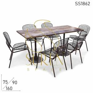 SS1862 Suren Space Cast Iron Folding Rustic Finish Raw Inspire Dining Set