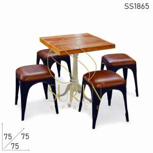 SS1865 Suren Space Stackable Goat Leather Designer Stool with Cast Iron Folding Table