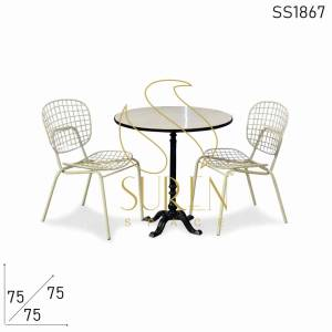 SS1867 Suren Space Metal Marble Outdoor Dining Set with Metal Chairs