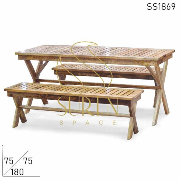 SS1869 Suren Space Solid Wood Semi Outdoor Canteen Food Court Table Bench Set