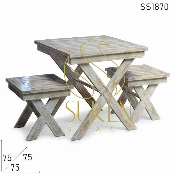 SS1870 Suren Space White Distress Solid Mango Wood Cafetaria Dining Set