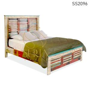 SS2096 Suren Space Gerecycled Indian Old Wood Resort Log Kamer Slaapkamer Bed Design