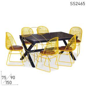 SS2465 Suren Space Metal Mesh Iron Graniet Outdoor Garden Park Dining Set