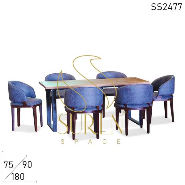 SS2477 Suren Space Fine Dine Leatherite Live Acacia Wood Long Dining Table Chairs Set