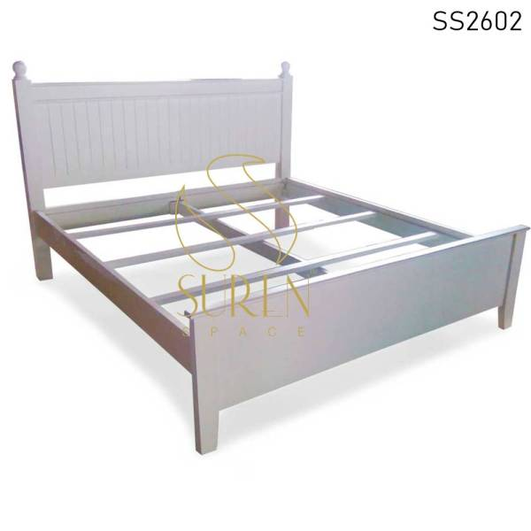 SS2602-1 Suren Space Pure White Luxury Interior Solid Wood Villa Bedroom Bed Design