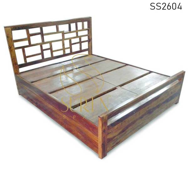 SS2604 Suren Space Honey Teak Finish Massief Hout Handgemaakt Hotel Resort Bed Design