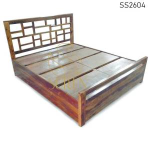 SS2604 Suren Space Honey Teak Finish Solid Wood Handcrafted Hotel Resort Bed Design