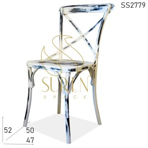 SS2779 Suren Space Distress Cross Back Metal Cafe Bistro Chair