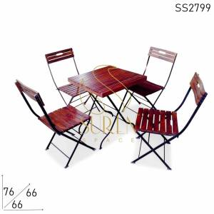 SS2799 Suren Space Folding Indian Rose Wood Cafe Cafeteria Bistro Dining Set