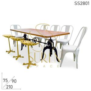 SS2801 Suren Space Industrial Eight Seater Réglable Dining Table Chairs & Stools Set