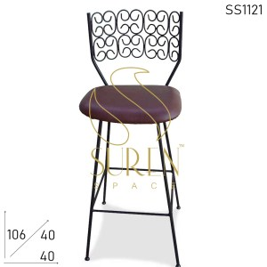 SS1121 Suren Space Bent Metal Artistic Indoor-Outdoor Bar Pub Chair