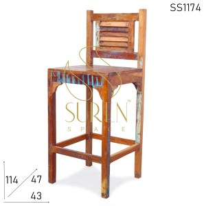 SS1174 Suren Space Old Reclaimed Solid Wood Chic Bar Height Chair