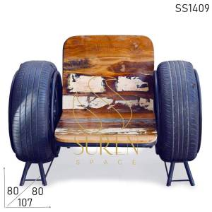 SS1409 Suren Space Recycled Motor Tyre Single Seater Sofa Chair