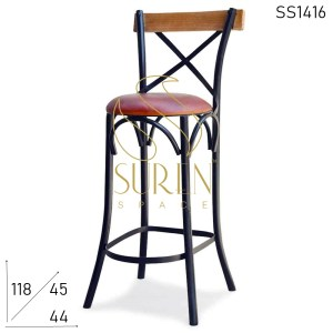 SS1416 Suren Space Wooden Back Rest Leather Seat Metal Body Bar Chair