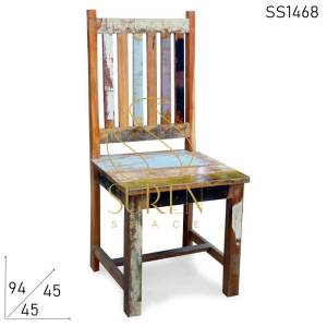 SS1468 Suren Space Multicolored Recycled Old Wood Colorful Chair