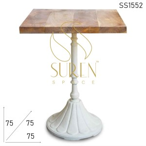 SS1552 Suren Space Cast Iron Metal Curved Base Solid Wood Regular Bistro Table