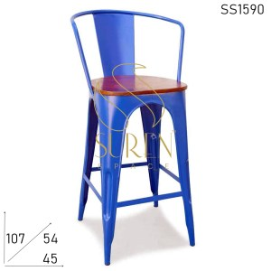 SS1590 Suren Space Metal Structure Wooden Seating Hand Rest Bar Chair