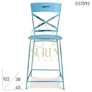 SS1592 Suren Space Blue Distress Metal Frame Bar Brewery Chair