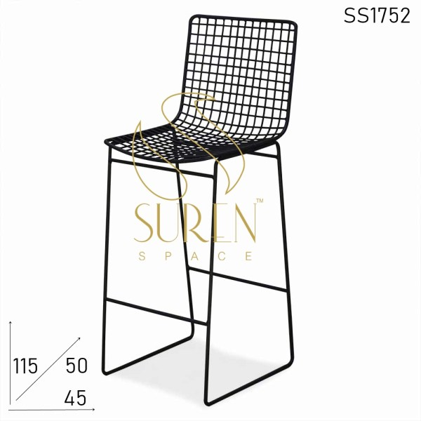 SS1752 Suren Space Black Finish Solid Metal Outdoor Bar Pub Chair