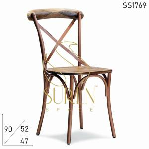 SS1769 Suren Space Cross Back Metal Wooden Banquet Event Chair