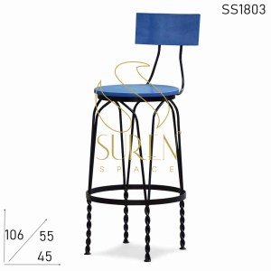 SS1803 Suren Space Bent Metal Frame Solid Wood Seat Back Bar Chair
