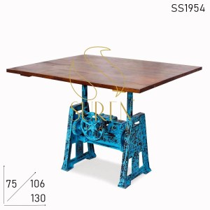 SS1954 Suren Space Height Adjustable Distress Cast Iron Regular Cum Bar Table