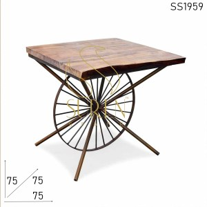 SS1959 Suren Space Rustic Round Wheel Live Edge Acacia Wood Bistro Cafe Table