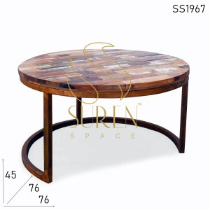 SS1967 Suren Space Rustic Reclaimed Wood Metal Base Center Coffee Table