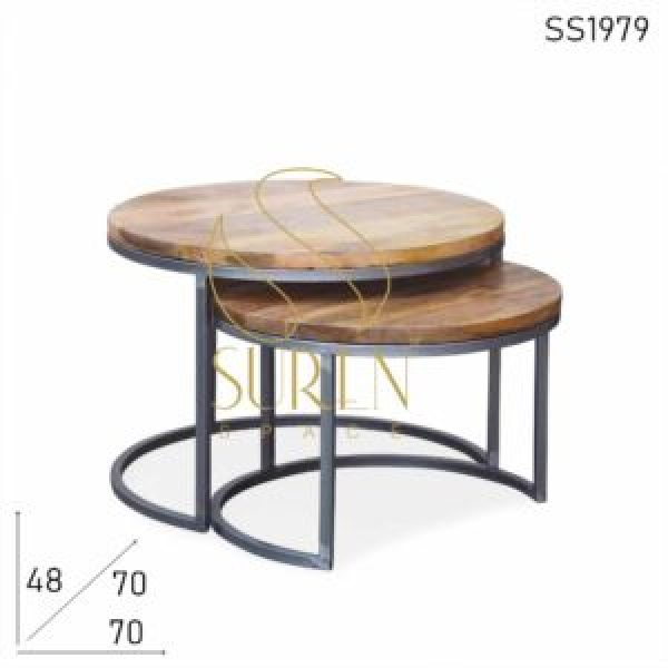 SS1979 Suren Space Solid Mango Wood Set of Two Industrial Finish Center Table Set