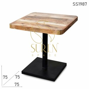 SS1987 Suren Space Round Edge Solid Wood Café Bistro Table in Natural Finish