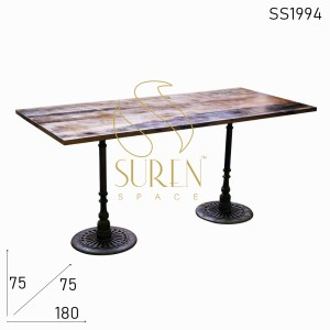 SS1994 Suren Space Dual Base Cast Iron Solid Wood Folding Semi Outdoor Table
