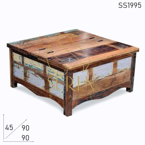 SS1995 Suren Space Recycled Multicolored Wood Storage Coffee Center Table