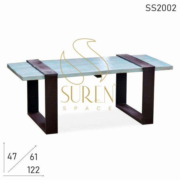 SS2002 Suren Space Blue Distress Metal Base Resort Room Coffee Center Table