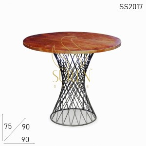 SS2017 Suren Space Artistic Metal Base Solid Wooden Top Bistro Cafe Table