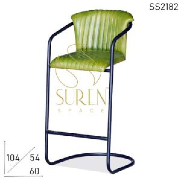 SS2182 Suren Space Bent Pipe Industrial Leather Bar Brewery Chair Design