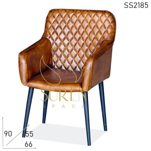SS2185 Suren Space Stitched Pattern Pure Leather Metal Frame Accent Chair