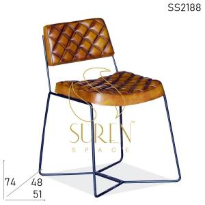 SS2188 Suren Space Indian Leather Metal Stand Restaurant Cafe Chair