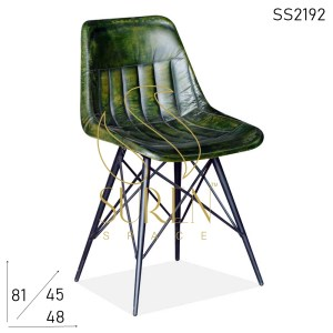SS2192 Suren Space Green Distress Genuine Leather Industrial Chair