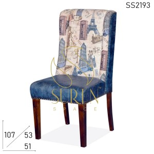 SS2193 Suren Space Printed Canvas & Leatherette Fine Dine Restaurant Chair