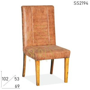 SS2195 Suren Space Leatherette Long Back Solid Wood Restaurant Chair