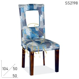 SS2198 Suren Space Long Back Fabric Solid Wood Restaurant Chair
