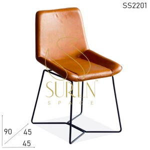 SS2201 Suren Space Pure Leather Metal Frame Restaurant Chair