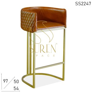 SS2247 Suren Space Tufted Leather Back Seat Metal Frame Bar Pub Chair