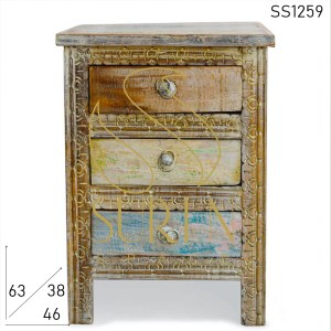 SS1259 Suren Space Hand Carved Indian Style Multicolored Resort Bedside Cabinet