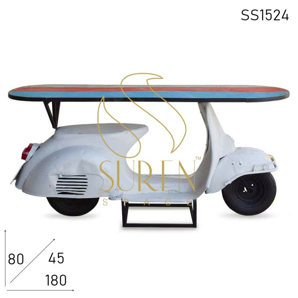 SS1524 Suren Space Old Indian Automobile Redesign Console Cum Counter Table
