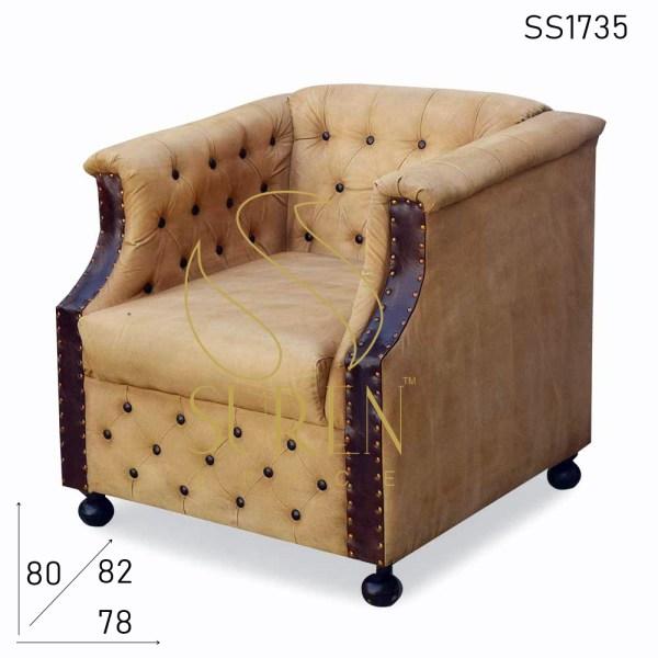 SS1735 suren espacio tufted cuero lienzo vintage tema sencillo sofá